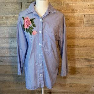 Bebe striped floral blouse in size medium